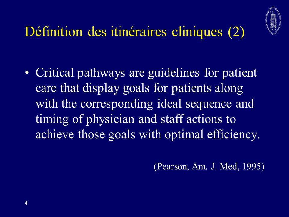 Définition des itinéraires cliniques (2)
