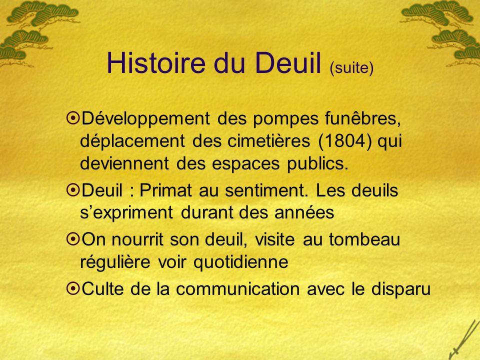 Histoire du Deuil (suite)