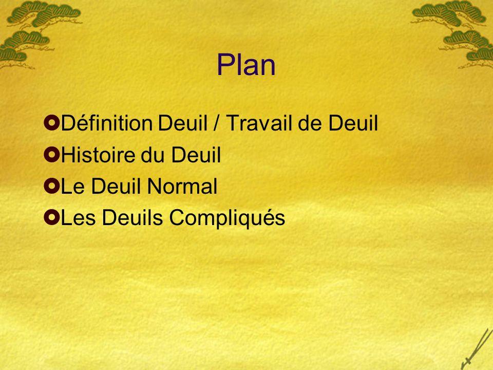 Plan Définition Deuil / Travail de Deuil Histoire du Deuil