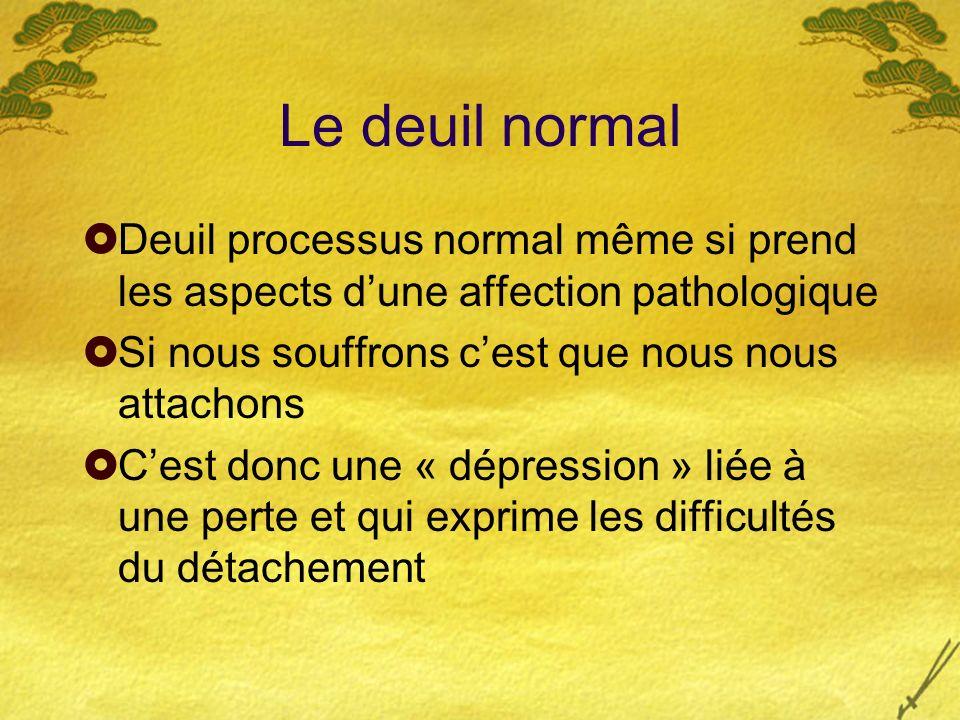 Le deuil normal Deuil processus normal même si prend les aspects d'une affection pathologique. Si nous souffrons c'est que nous nous attachons.