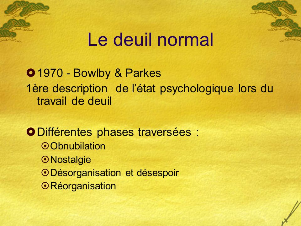 Le deuil normal 1970 - Bowlby & Parkes