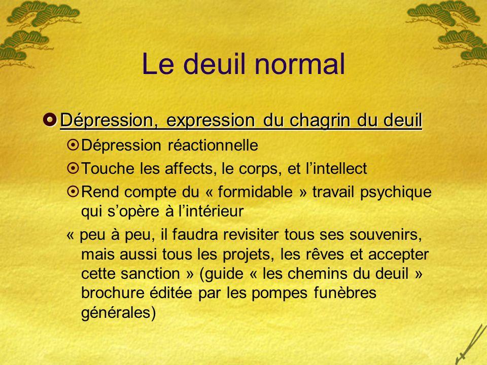 Le deuil normal Dépression, expression du chagrin du deuil