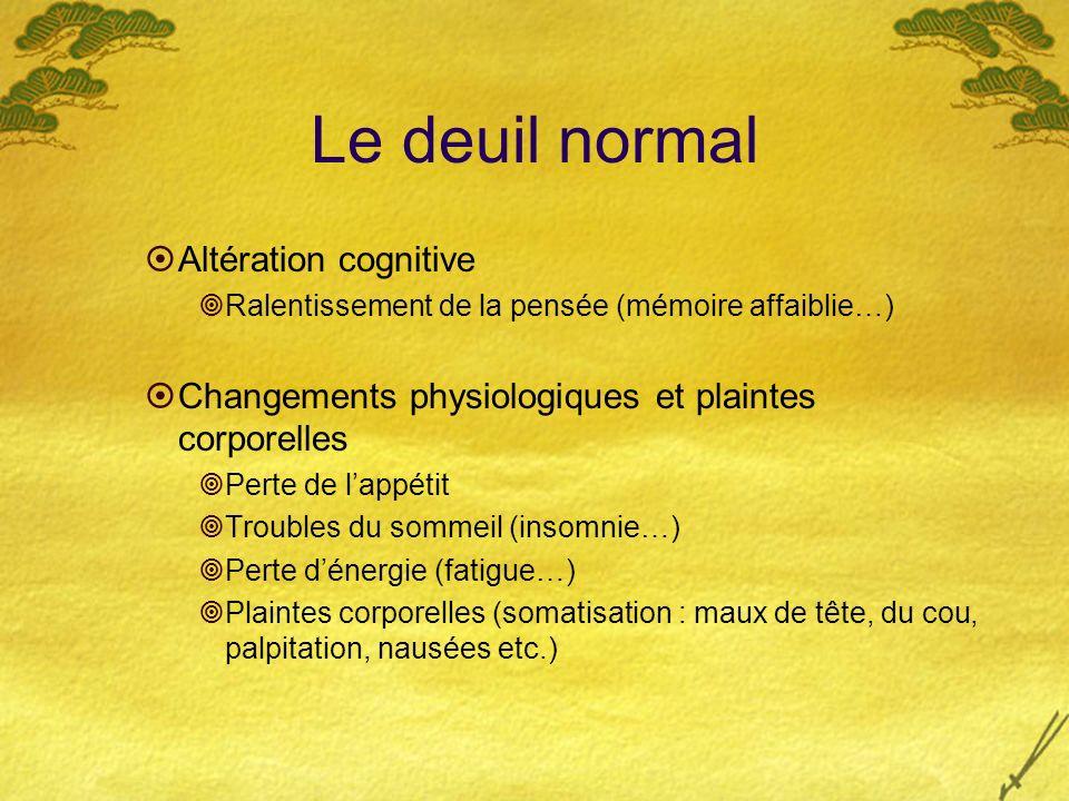 Le deuil normal Altération cognitive