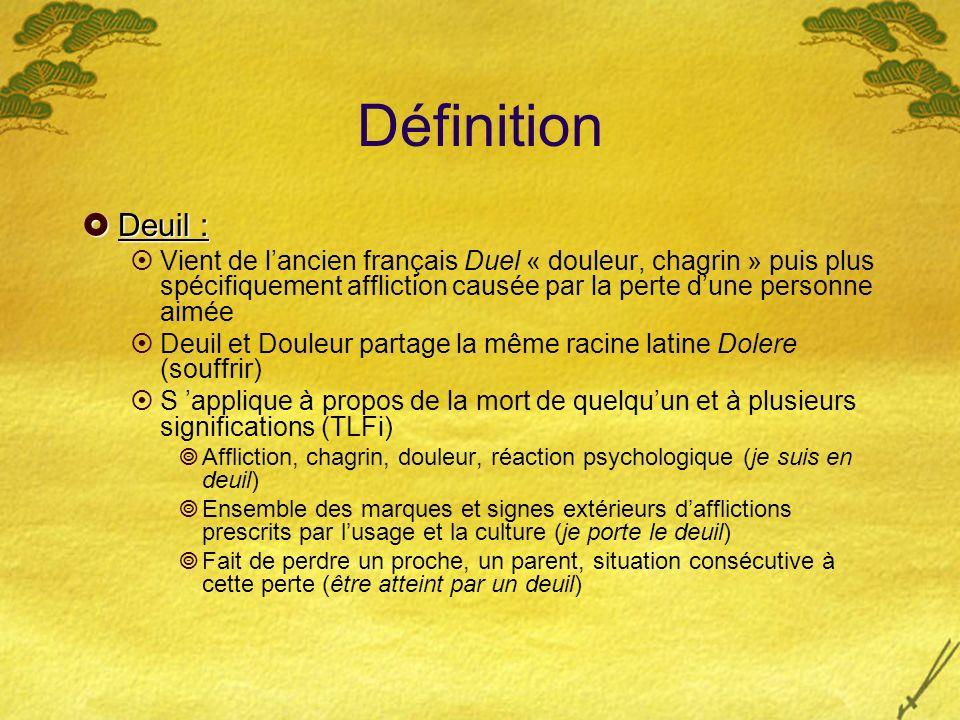 Définition Deuil : Vient de l'ancien français Duel « douleur, chagrin » puis plus spécifiquement affliction causée par la perte d'une personne aimée.