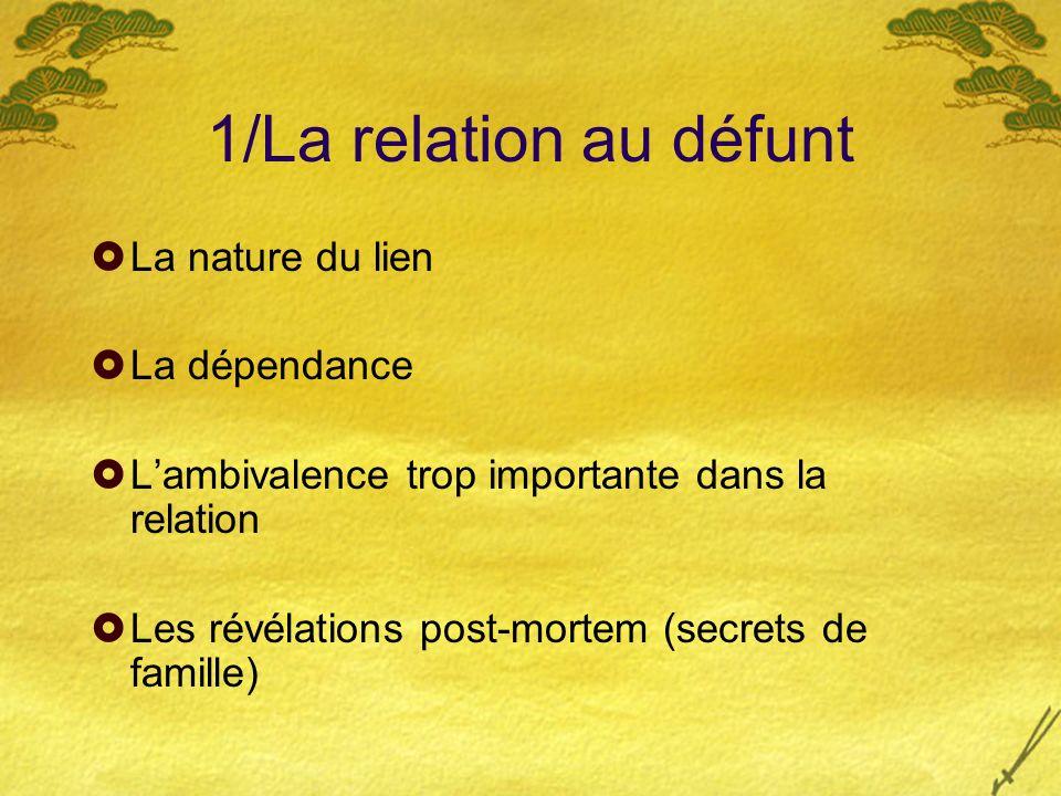 1/La relation au défunt La nature du lien La dépendance