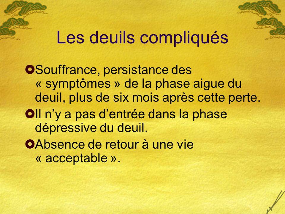 Les deuils compliqués Souffrance, persistance des « symptômes » de la phase aigue du deuil, plus de six mois après cette perte.