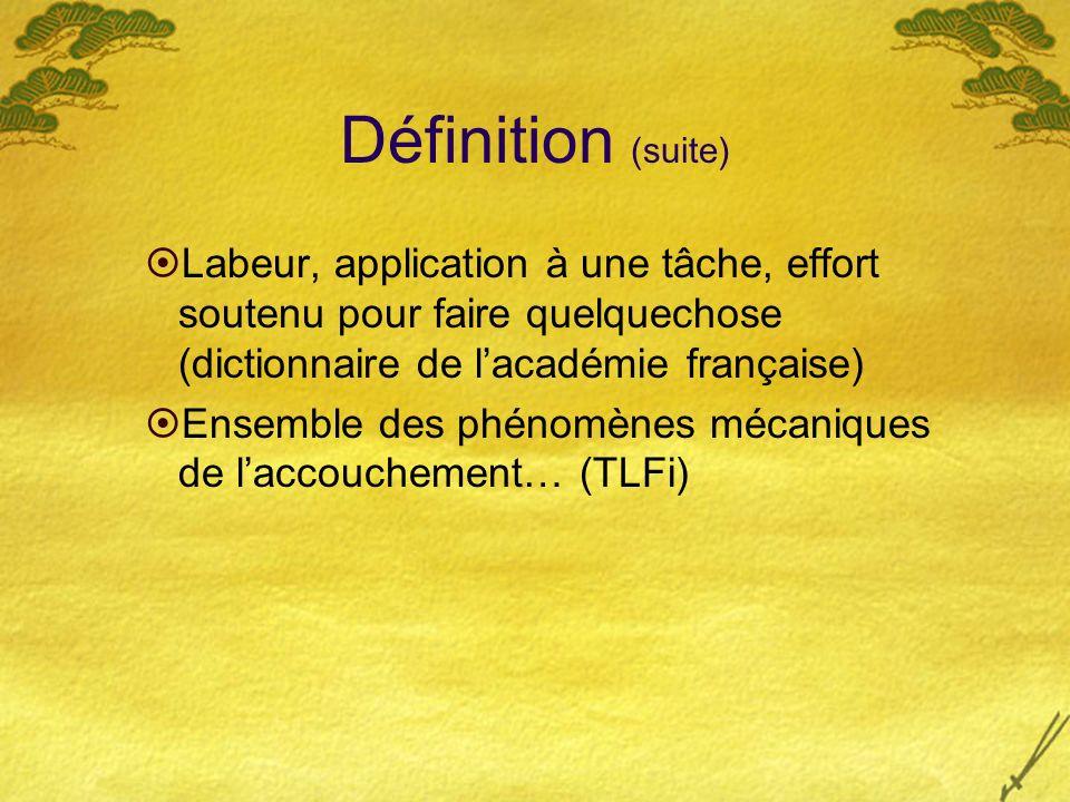 Définition (suite) Labeur, application à une tâche, effort soutenu pour faire quelquechose (dictionnaire de l'académie française)
