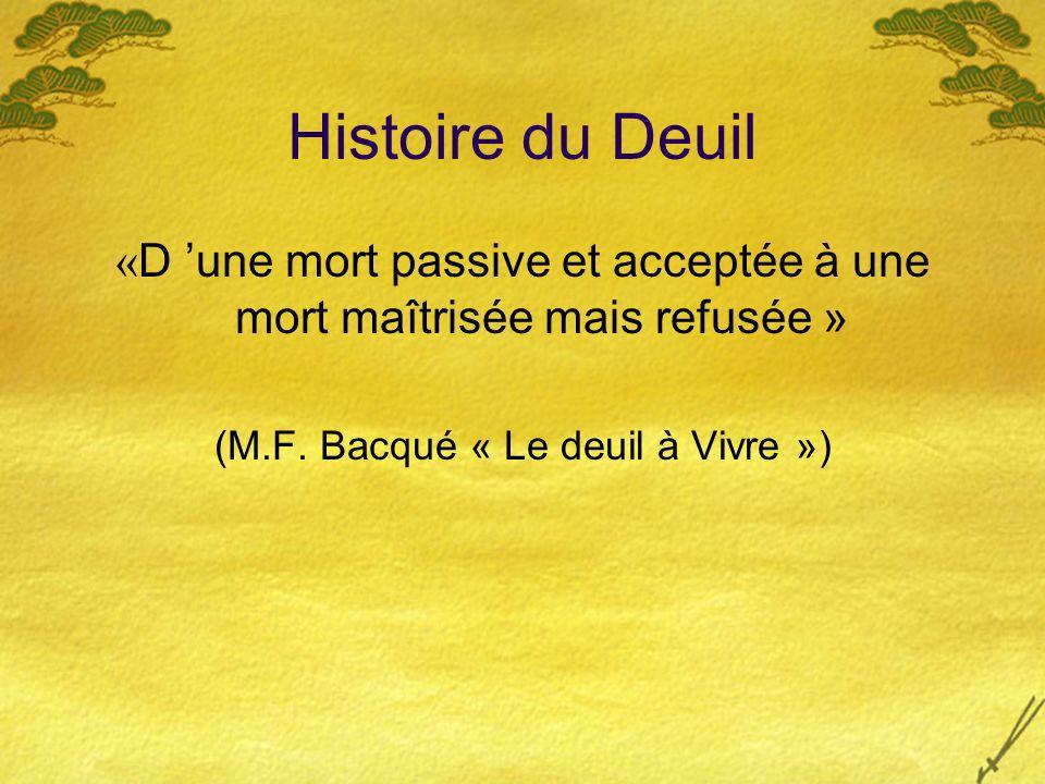 Histoire du Deuil «D 'une mort passive et acceptée à une mort maîtrisée mais refusée » (M.F.