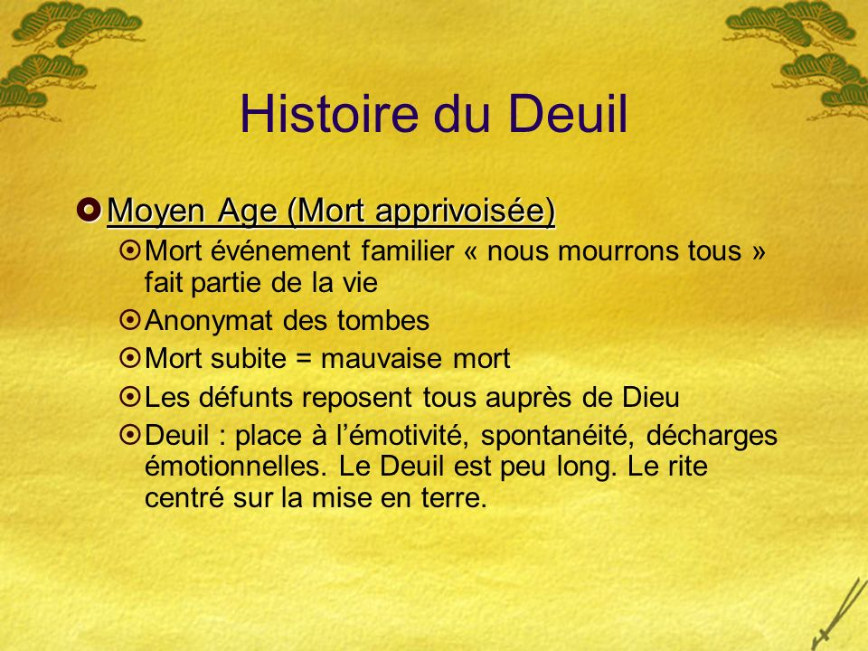 Histoire du Deuil Moyen Age (Mort apprivoisée)