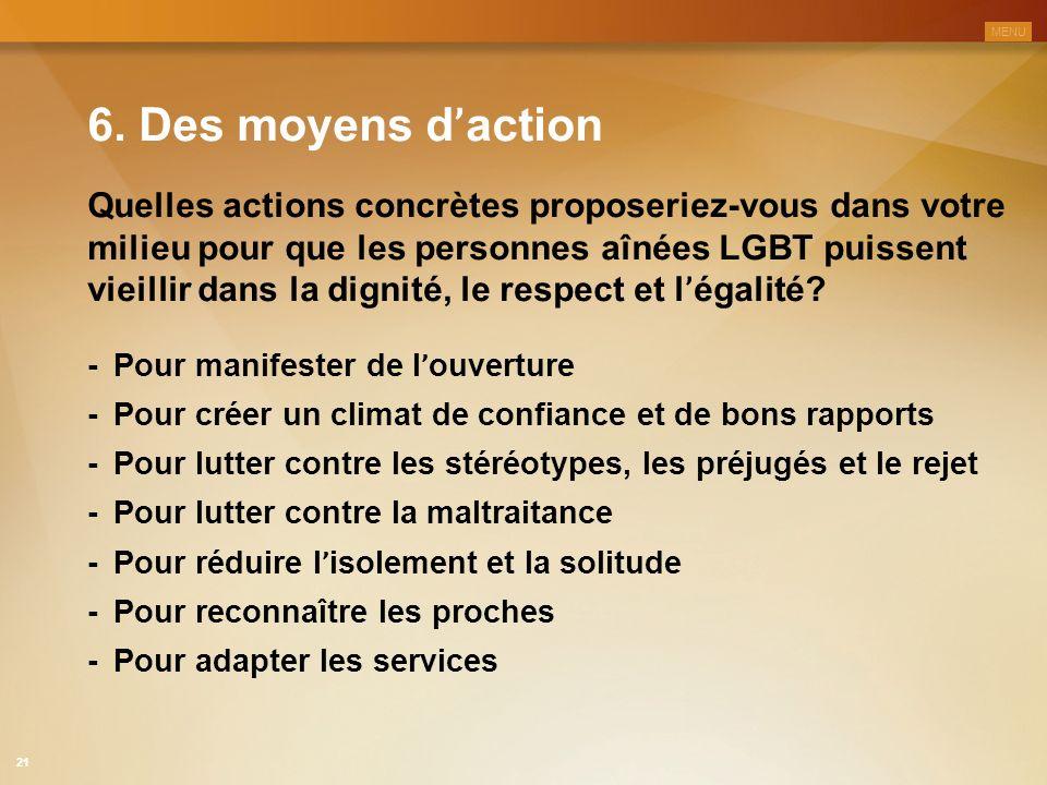 MENU 6. Des moyens d'action.