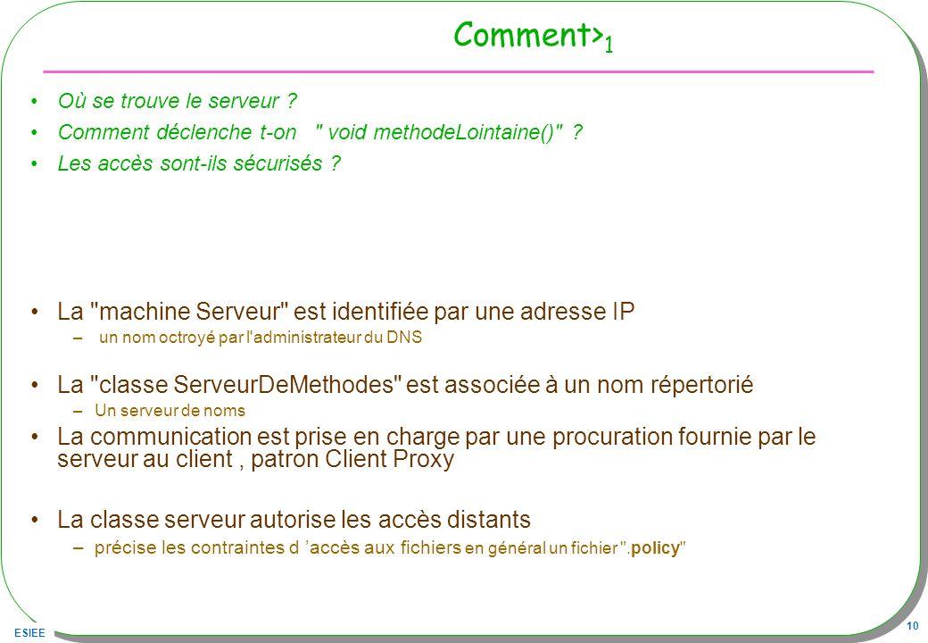 Comment>1 La machine Serveur est identifiée par une adresse IP