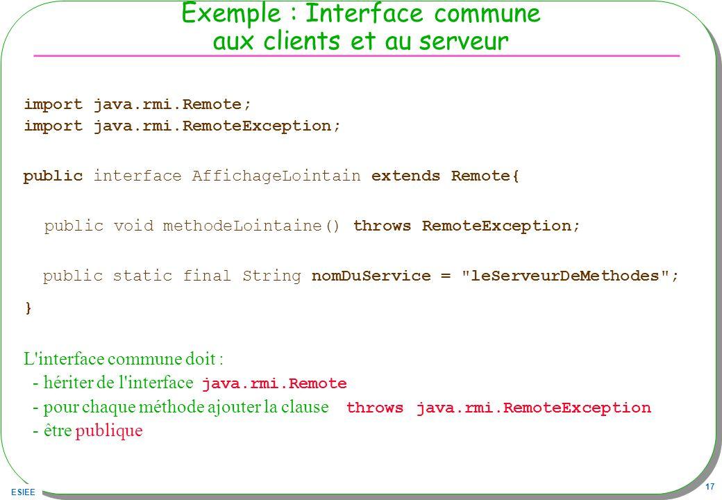 Exemple : Interface commune aux clients et au serveur