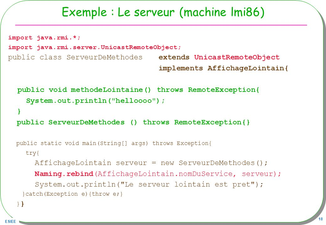 Exemple : Le serveur (machine lmi86)