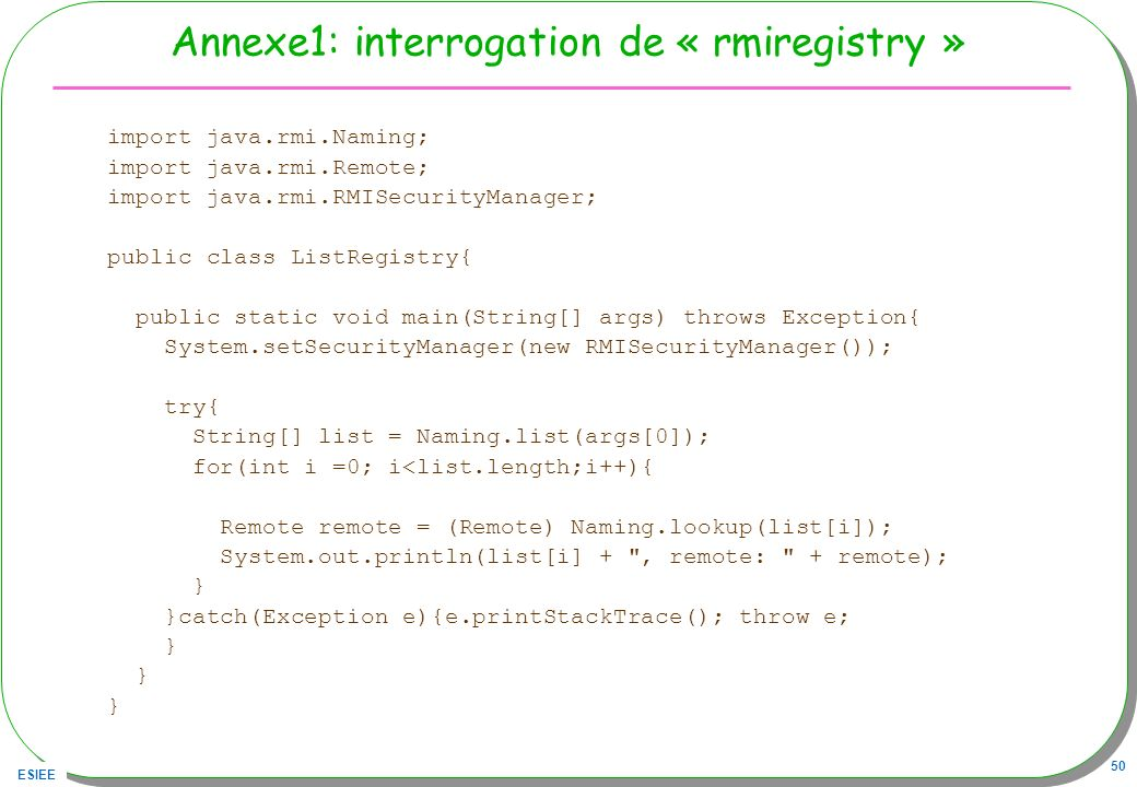 Annexe1: interrogation de « rmiregistry »