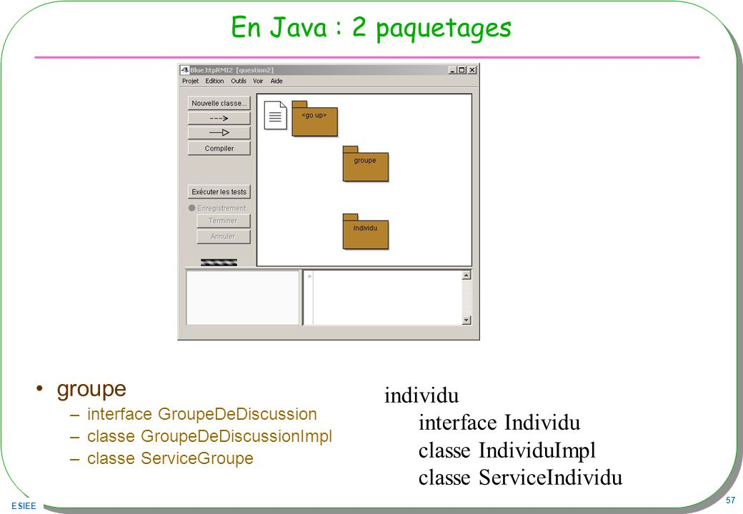 En Java : 2 paquetages groupe individu interface Individu