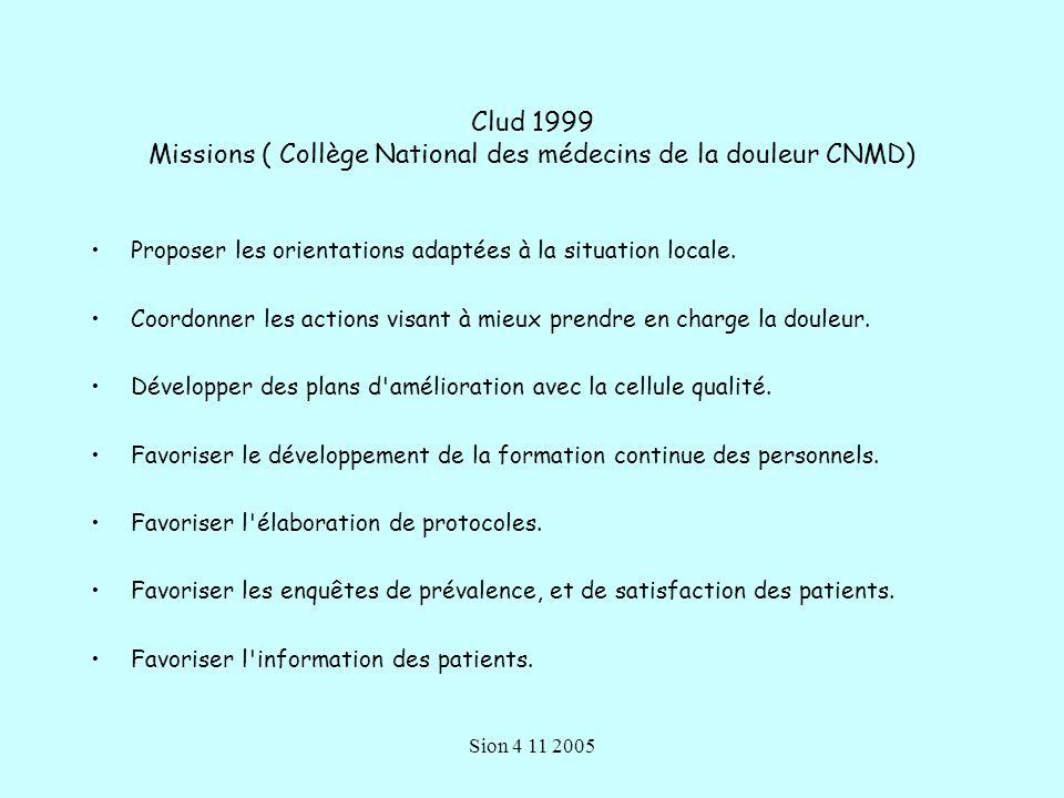 Clud 1999 Missions ( Collège National des médecins de la douleur CNMD)