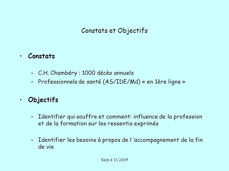 Constats et Objectifs Constats Objectifs