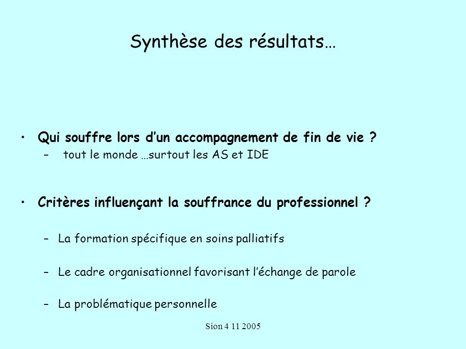 Synthèse des résultats…