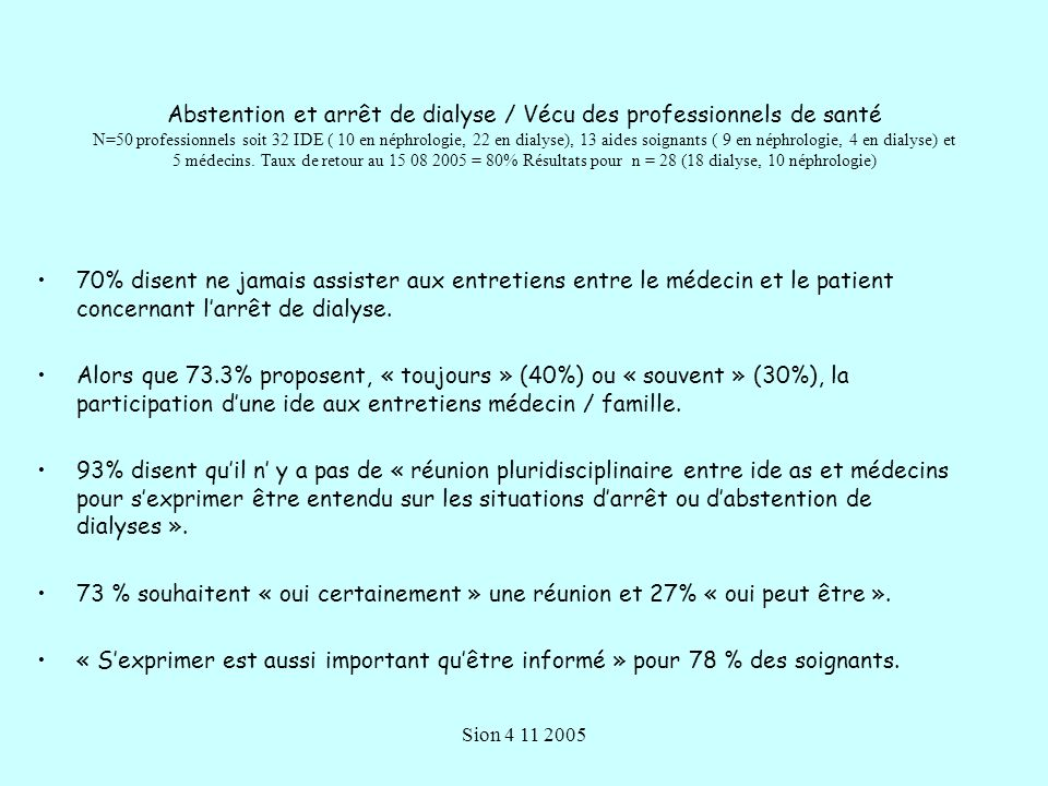 Abstention et arrêt de dialyse / Vécu des professionnels de santé N=50 professionnels soit 32 IDE ( 10 en néphrologie, 22 en dialyse), 13 aides soignants ( 9 en néphrologie, 4 en dialyse) et 5 médecins. Taux de retour au 15 08 2005 = 80% Résultats pour n = 28 (18 dialyse, 10 néphrologie)