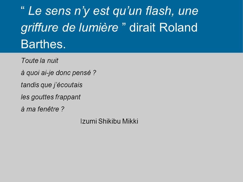 Le sens n'y est qu'un flash, une griffure de lumière dirait Roland Barthes.