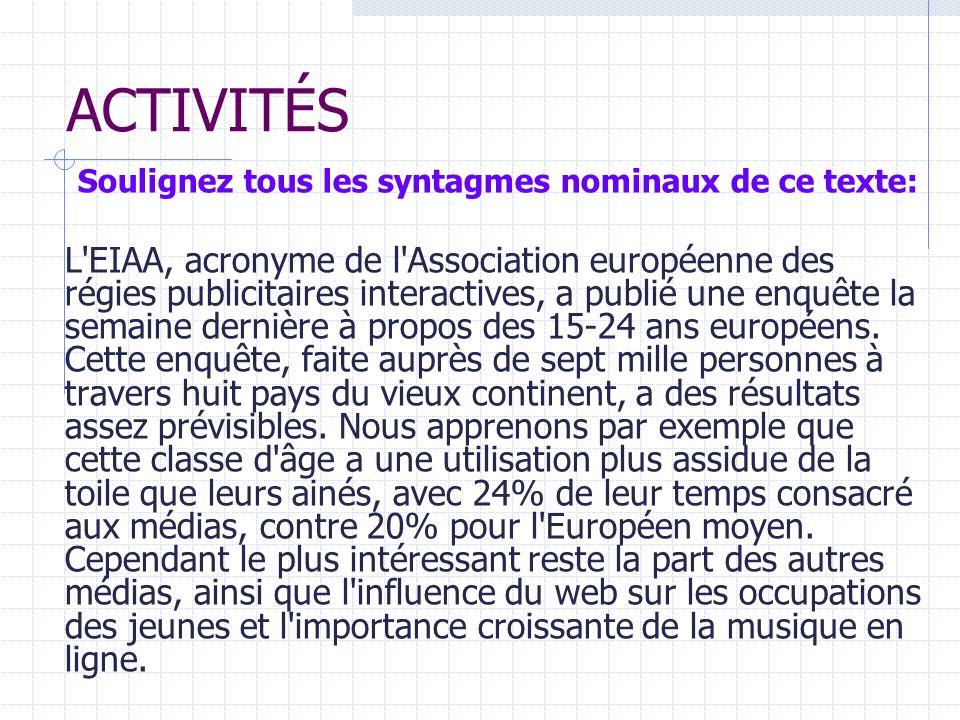 Soulignez tous les syntagmes nominaux de ce texte: