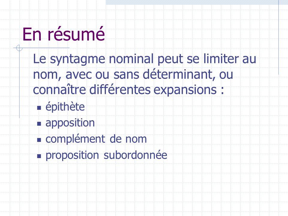 En résumé Le syntagme nominal peut se limiter au nom, avec ou sans déterminant, ou connaître différentes expansions :