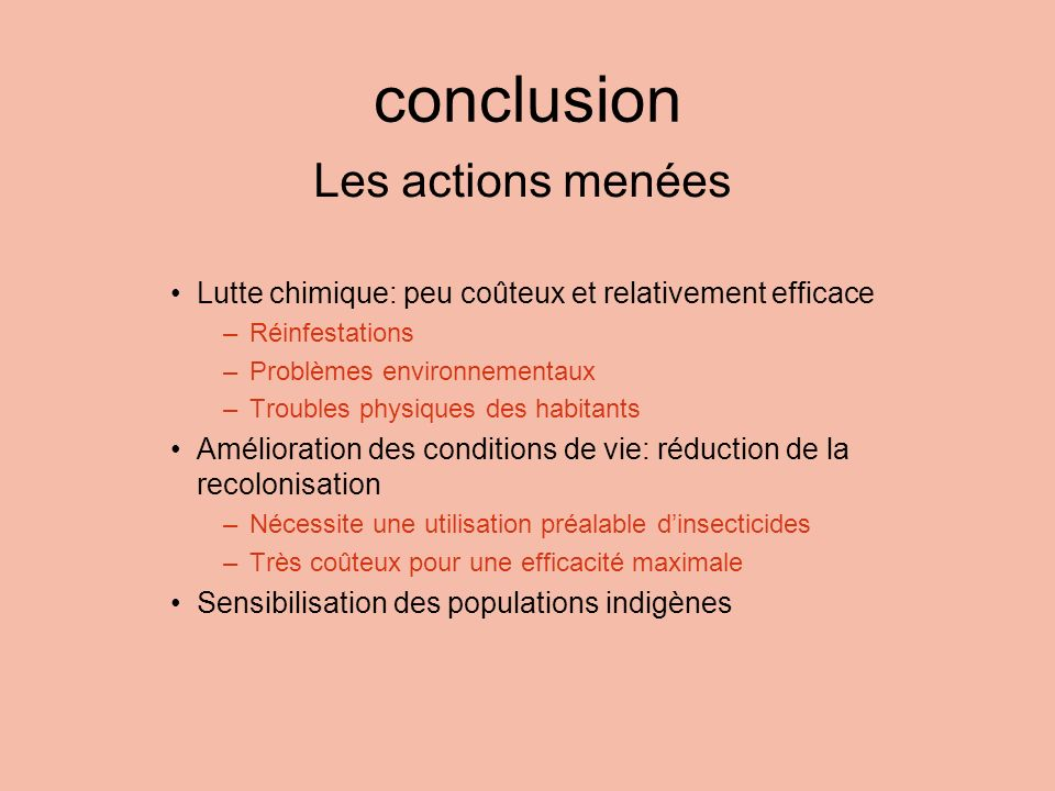 conclusion Les actions menées