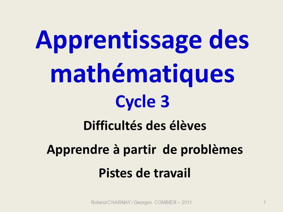 Apprentissage des mathématiques Cycle 3