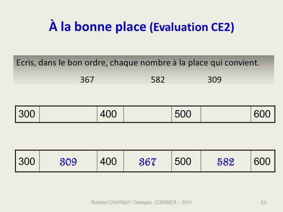 À la bonne place (Evaluation CE2)