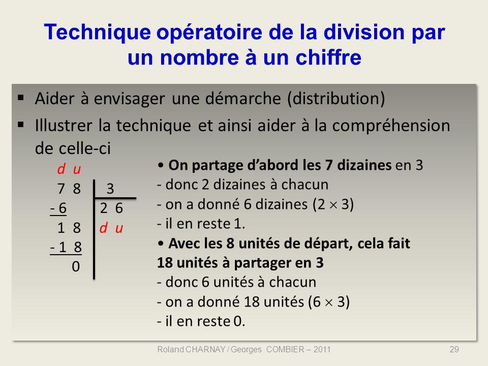 Technique opératoire de la division par un nombre à un chiffre