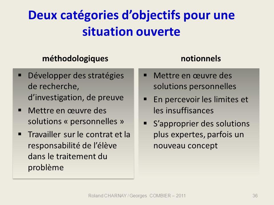 Deux catégories d'objectifs pour une situation ouverte