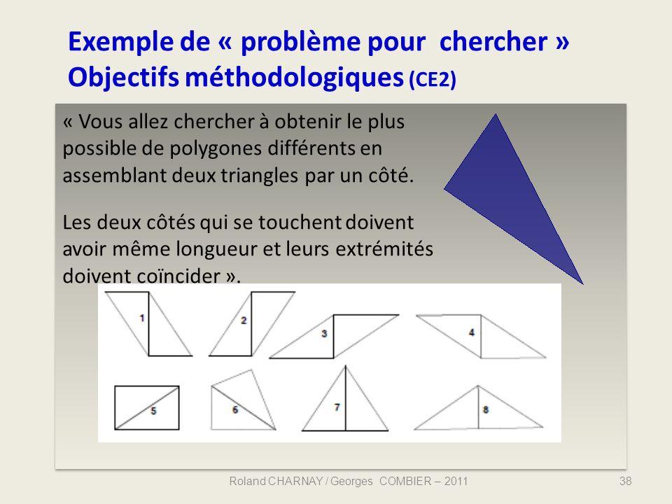 Exemple de « problème pour chercher » Objectifs méthodologiques (CE2)