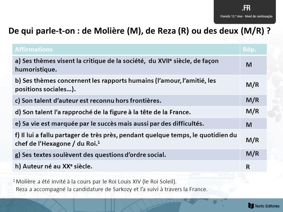 De qui parle-t-on : de Molière (M), de Reza (R) ou des deux (M/R)