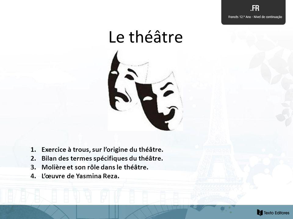 Le théâtre Exercice à trous, sur l'origine du théâtre.
