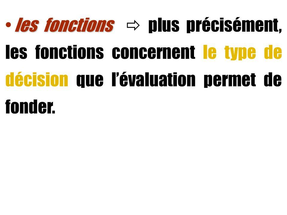 les fonctions  plus précisément, les fonctions concernent le type de décision que l'évaluation permet de fonder.