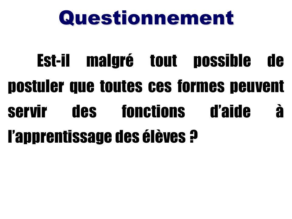 Questionnement Est-il malgré tout possible de postuler que toutes ces formes peuvent servir des fonctions d'aide à l'apprentissage des élèves