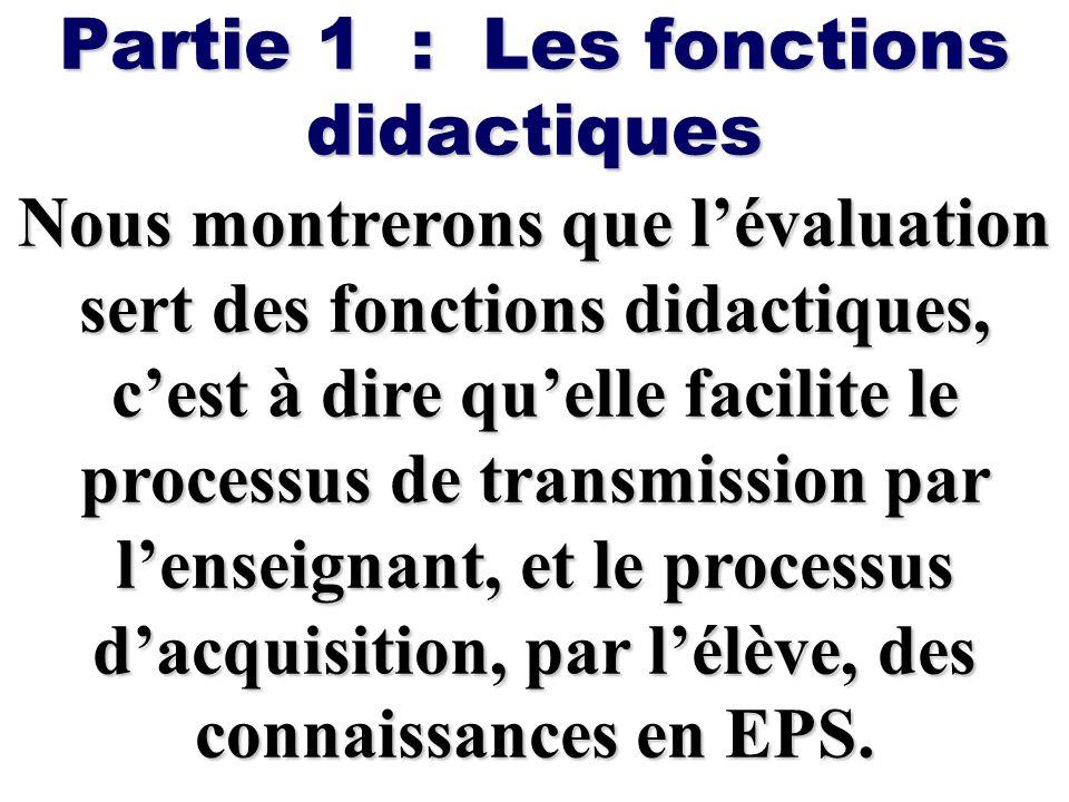 Partie 1 : Les fonctions didactiques