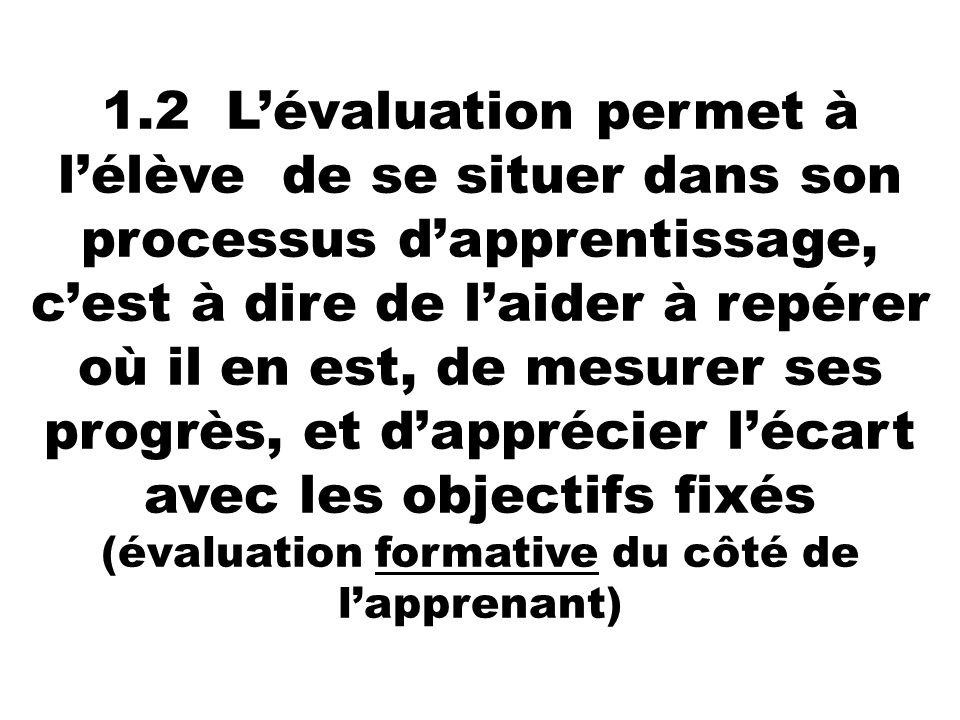 1.2 L'évaluation permet à l'élève de se situer dans son processus d'apprentissage, c'est à dire de l'aider à repérer où il en est, de mesurer ses progrès, et d'apprécier l'écart avec les objectifs fixés (évaluation formative du côté de l'apprenant)