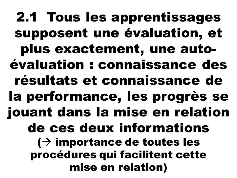 2.1 Tous les apprentissages supposent une évaluation, et plus exactement, une auto-évaluation : connaissance des résultats et connaissance de la performance, les progrès se jouant dans la mise en relation de ces deux informations ( importance de toutes les procédures qui facilitent cette mise en relation)