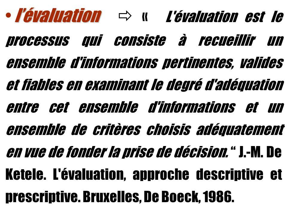 l'évaluation  « L évaluation est le processus qui consiste à recueillir un ensemble d informations pertinentes, valides et fiables en examinant le degré d adéquation entre cet ensemble d informations et un ensemble de critères choisis adéquatement en vue de fonder la prise de décision.