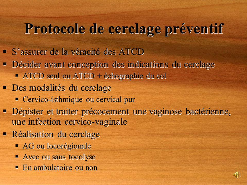 Protocole de cerclage préventif