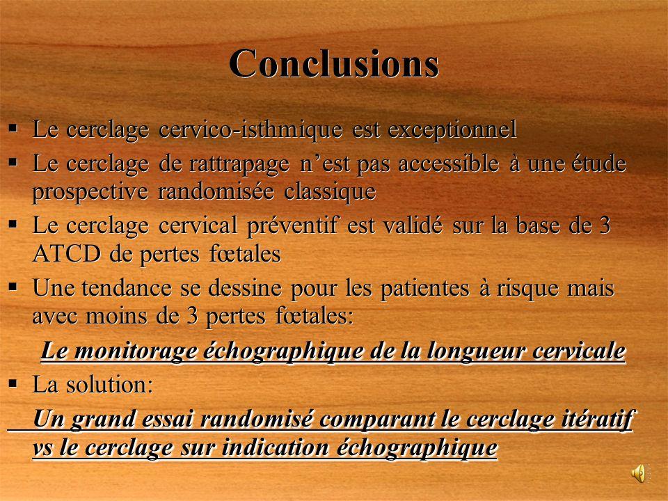 Conclusions Le cerclage cervico-isthmique est exceptionnel