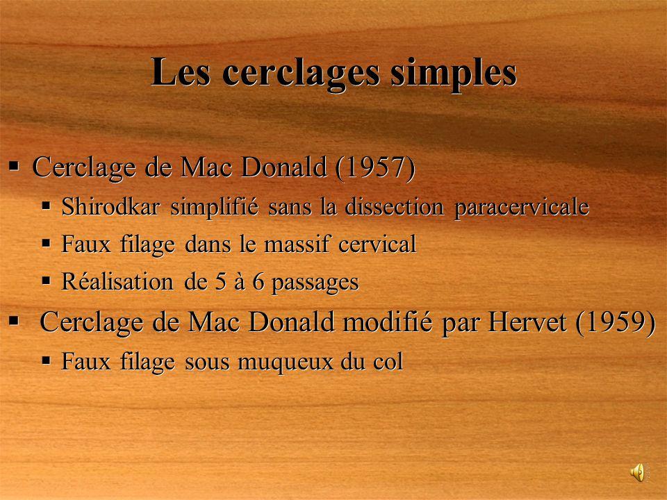 Les cerclages simples Cerclage de Mac Donald (1957)