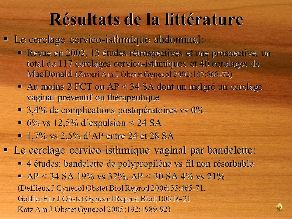 Résultats de la littérature