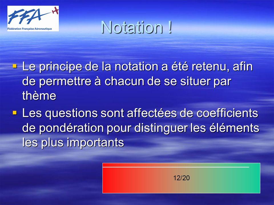 Notation ! Le principe de la notation a été retenu, afin de permettre à chacun de se situer par thème.