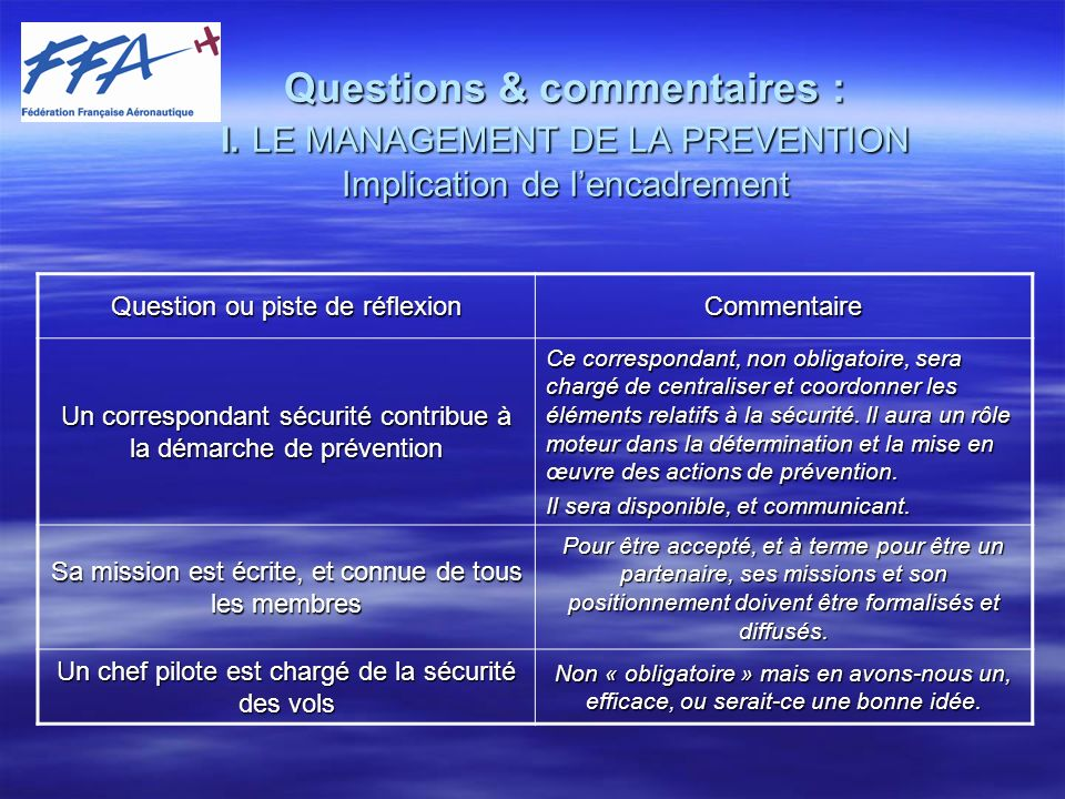 Questions & commentaires : I