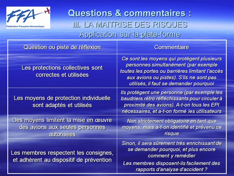 Questions & commentaires : III