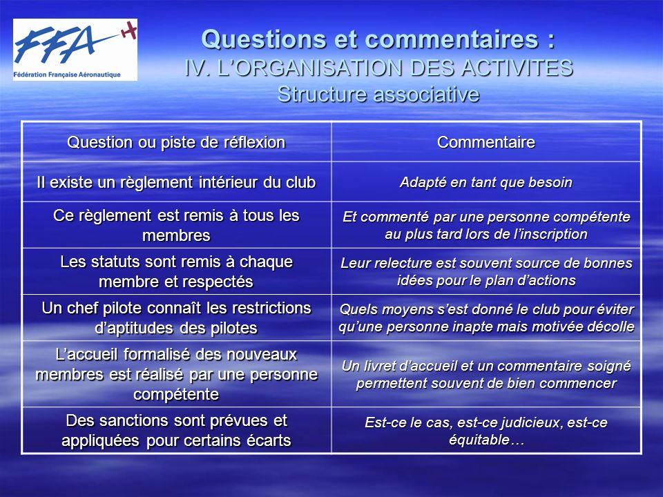 Questions et commentaires : IV