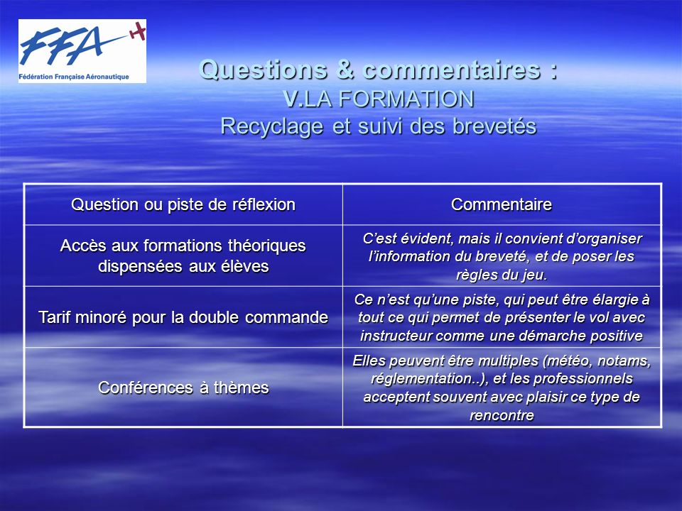 Questions & commentaires : V