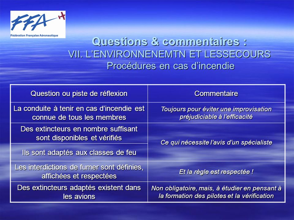 Questions & commentaires : VII